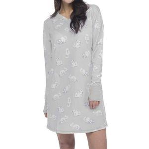 Munki Munki Kitty Cat Hooded Night Shirt Sz XL